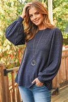 S8-12-1-RFT2389-RSW022-HCB-NV NAVY RIB DETAIL PUFF SLEEVED SOLID HACCI BRUSHED TOP 1-2-2-2