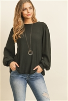 S12-2-3-RFT2389-WF-BK - WAFFLE BRUSHED PUFF SLEEVED ROUND NECK TOP- BLACK 1-2-2-2