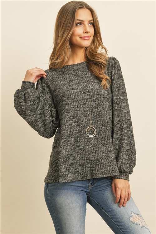 S12-3-3-RFT2389-WF-BKCHB - WAFFLE BRUSHED PUFF SLEEVED ROUND NECK TOP- BLACK CHAMBRAY 1-2-2-2