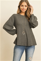 S12-2-3-RFT2389-WF-CH2T - WAFFLE BRUSHED PUFF SLEEVED ROUND NECK TOP- CHARCOAL 2TONE 1-2-2-2