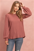 S12-3-3-RFT2389-WF-RDBWN - WAFFLE BRUSHED PUFF SLEEVED ROUND NECK TOP- RED/BROWN 1-2-2-2