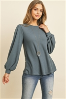 S12-3-3-RFT2389-WF-TLDNM - WAFFLE BRUSHED PUFF SLEEVED ROUND NECK TOP- TEAL DENIM 1-2-2-2