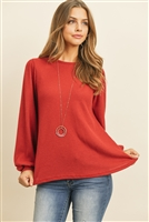S12-2-3-RFT2389-WF-WN - WAFFLE BRUSHED PUFF SLEEVED ROUND NECK TOP- WINE 1-2-2-2