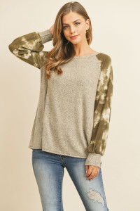 S11-5-2-RFT2394-RTD026C-CCOV - BRUSHED HACCI TIE DYE PUFF SLEEVED TOP- COCO/OLIVE 1-2-2-2