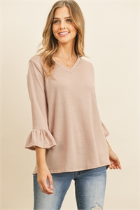 S14-9-1-RFT2401-PRS-DSTBLS - V-NECK 3/4 RUFFLE SLEEVE HACCI TOP- DUSTY BLUSH 1-2-2-2
