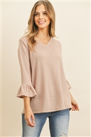 S8-14-1-RFT2401-PRS-DSTBLS-2 - V-NECK 3/4 RUFFLE SLEEVE HACCI TOP- DUSTY BLUSH 1-1-1-2