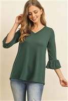 S14-12-4-RFT2401-PRS-HTGN-1 - V-NECK 3/4 RUFFLE SLEEVE HACCI TOP- HUNTER GREEN 2-3-2