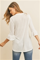 S8-14-1-RFT2401-PRS-IV-2 - V-NECK 3/4 RUFFLE SLEEVE HACCI TOP- IVORY 3-2-1