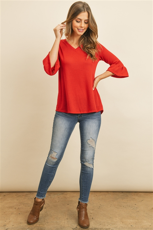 S11-13-2-RFT2401-PRS-RD-1 - V-NECK 3/4 RUFFLE SLEEVE HACCI TOP- RED 3-1