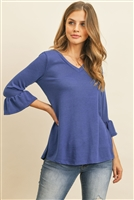 S11-13-2-RFT2401-PRS-RYLBL-1 - V-NECK 3/4 RUFFLE SLEEVE HACCI TOP- ROYAL BLUE 3-2-1
