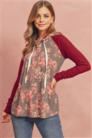 S10-6-2-RFT2402-RFL108-WNRSWN - FLORAL HACCI SLEEVED CONTRAST HODDIE WITH DRAWSTRINGS- WINE ROSE/WINE 1-2-2-2