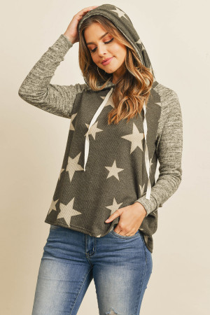 S9-11-1-RFT2402-RPR068-BKOTM BLACK OATMEAL BRUSHED HACCI SLEEVE STAR PRINT HOODIE WITH DRAWSTRING SWEATER 1-2-2-2