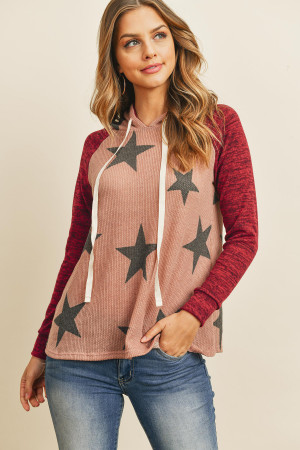 S9-11-1-RFT2402-RPR068-DMVDKBU DARK MAUVE DARK BURGUNDY BRUSHED HACCI SLEEVE STAR PRINT HOODIE WITH DRAWSTRING SWEATER 1-2-2-2