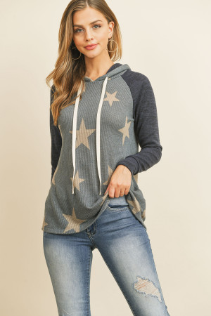 S9-11-1-RFT2402-RPR068-NVDKNV NAVY DARK NAVY BRUSHED HACCI SLEEVE STAR PRINT HOODIE WITH DRAWSTRING SWEATER 1-2-2-2