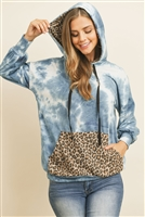 S5-2-3-RFT2403-RTD030C-DNMSTN - TIE DYE LONG SLEEVE LEOPARD CONTRAST POCKET HOODIE WITH DRAWSTRINGS- DENIM/STONE 1-2-2-2