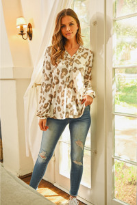 S8-5-2-RFT2407-RAP017-MCCMB MOCHA COMBO BUTTON FRONT LONG SLEEVED ANIMAL PRINT TOP 1-2-2-2