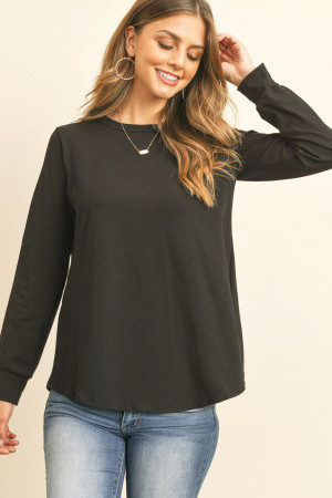 S9-16-2-RFT2410-CT-BK BLACK LONG SLEEVE ROUND NECK SOLID TOP 1-2-2-2