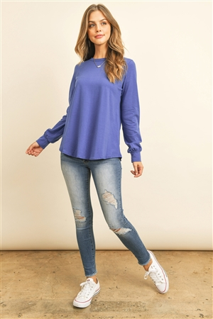 S10-19-2-RFT2410-CT-CB - LONG SLEEVE ROUND NECK SOLID TOP- COBALT 1-2-2-2