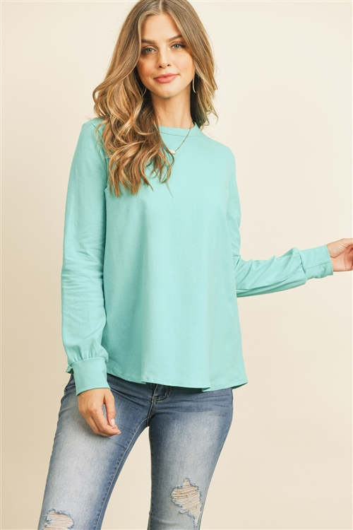 RFT2410-CT-DKMNT - LONG SLEEVE ROUND NECK SOLID TOP- DARK MINT 1-2-2-2