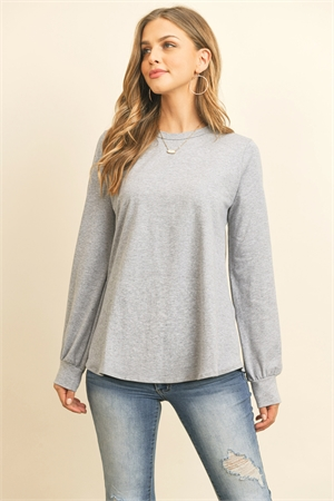 S10-16-1-RFT2410-CT-HG - LONG SLEEVE ROUND NECK SOLID TOP- HEATHER GREY 1-2-2-2