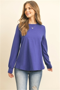 S10-19-1-RFT2410-CT-RYL - LONG SLEEVE ROUND NECK SOLID TOP-  ROYAL 1-2-2-2