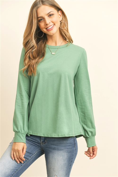 RFT2410-CT-SG - LONG SLEEVE ROUND NECK SOLID TOP- SAGE 1-2-2-2