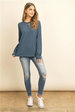 S10-16-1-RFT2410-CT-TL - LONG SLEEVE ROUND NECK SOLID TOP- TEAL 1-2-2-2