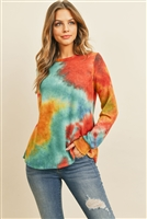 RFT2410-RTD054-TLMU - LONG SLEEVE BOAT NECK TIE DYE ROUNDED HEM TOP- TEAL/MUSTARD 1-2-2-2