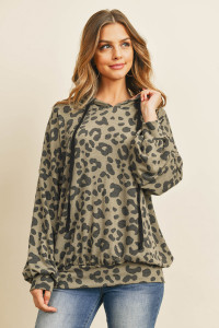 S11-2-3-RFT2427-RAP128-OVBWN - LEOPARD PUFF SLEEVED SELF TIE HOODIE- OLIVE/BROWN 1-2-2-2