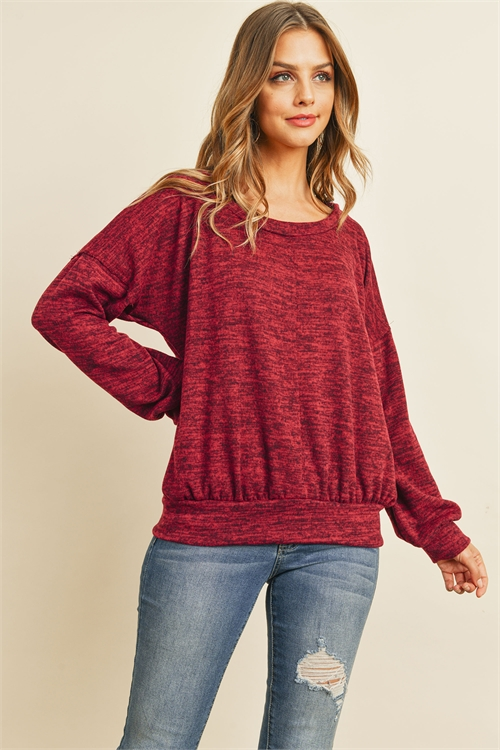 S11-8-3-RFT2436-RSW010-DKBU - TWO TONED BRUSHED HACCI BOAT NECKLINE TOP- DARK BURGUNDY 1-2-2-2