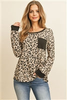 S8-3-4-RFT2437-RAP096-MCBK - BOAT NECK LEOPARD POCKET TOP- MOCHA/BLACK 1-2-2-2