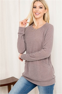 S11-8-3-RFT2534-MIER-MC - KNIT FRONT POCKET LONG SLEEVED TOP- MOCHA 1-2-2-2
