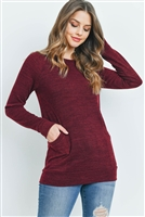S13-10-2-RFT2534-MIER-WN - KNIT FRONT POCKET LONG SLEEVED TOP- WINE 1-2-2-2