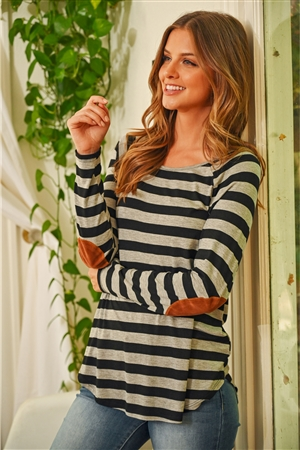S10-15-3-RFT2536-RS037-BKGY - STRIPED LONG SLEEVE ELBOW PATCHED TOP- BLACK/HEATHER GREY 1-2-2-2