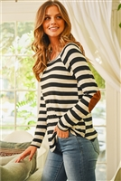 S10-15-2-RFT2536-RS037-BKOFW - STRIPED LONG SLEEVE ELBOW PATCHED TOP- BLACK/OFF-WHITE 1-2-2-2