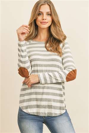 S11-17-1-RFT2536-RS037-HGOFW - STRIPED LONG SLEEVE ELBOW PATCHED TOP- HEATHER GREY/OFF-WHITE 1-2-2-2