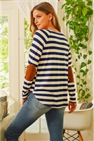 S10-16-1-RFT2536-RS037-NVOFW - STRIPED LONG SLEEVE ELBOW PATCHED TOP- NAVY/OFF-WHITE 1-2-2-2