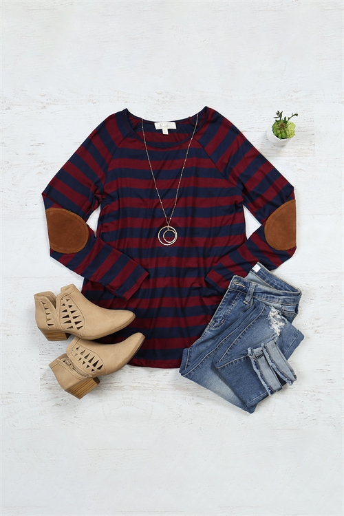 S10-15-1-RFT2536-RS037-WNNV - STRIPED LONG SLEEVE ELBOW PATCHED TOP- WINE/NAVY 1-2-2-2