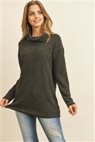 S10-12-3-RFT2575-RSW025-BK - HIGH NECK POPCORN SWEATER- BLACK 1-2-2-2