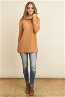 S11-7-2-RFT2575-RSW025-CML - HIGH NECK POPCORN SWEATER- CAMEL 1-2-2-2