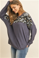S14-11-3-RFT2576-RAP017C-DNVGY - LONG SLEEVE LEOPARD CONTRAST HACCI BRUSHED TOP- DARK NAVY/GREY/COMBO 1-2-2-2