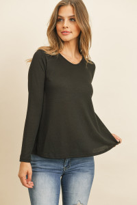 S10-16-2-RFT2590-PRS-BK BLACK ROUND NECK SOLID HACCI TOP 1-2-2-2