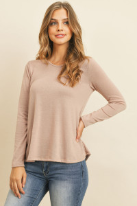 S10-16-2-RFT2590-PRS-DSTBLS DUSTY BLUSH ROUND NECK SOLID HACCI TOP 1-2-2-2