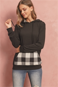 S6-1-3-RFT2594-RPL011C-BKBK - LONG SLEEVED PLAID POCKET CONTRAST HOODIE WITH DRAWSTRINGS- BLACK/BLACK 1-2-2-2