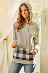 S6-1-3-RFT2594-RPL011C-HGBK - LONG SLEEVED PLAID POCKET CONTRAST HOODIE WITH DRAWSTRINGS- HEATHER GREY/BLACK 1-2-2-2