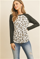 S10-15-4-RFT2604-RAP121-IVBK IVORY BLACK BOAT NECK WAFFLE SLEEVES LEOPARD TOP 1-2-2-2