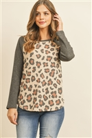 S15-11-3-RFT2604-RAP121-KCH-1 - BOAT NECK WAFFLE SLEEVES LEOPARD TOP- KHAKI/CHARCOAL 2-2-2