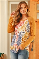 S8-5-4-RFT2604-RTD038-RSTNVMU - BRUSHED LONG SLEEVED TIE DYE ROUND HEM TOP- RUST NAVY MUSTARD/MUSTARD 1-2-2-2