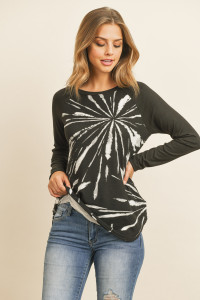 S10-19-4-RFT2604-RTD053-BKBK BLACK BLACK SOLID SLEEVES PRINTED ROUND HEM TOP 1-2-2-2