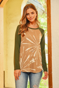 S10-19-4-RFT2604-RTD053-TPOV TAUPE OLIVE SOLID SLEEVES PRINTED ROUND HEM TOP 1-2-2-2